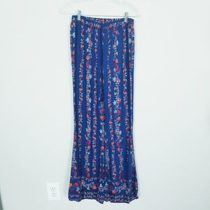 Flying Tomato BOHO Blue Floral Print Wide Leg Pant
